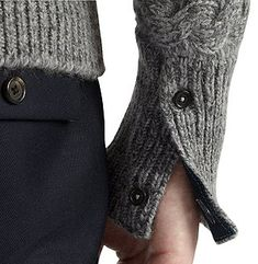 Men's knitted sweater cuff detail -snap closure
