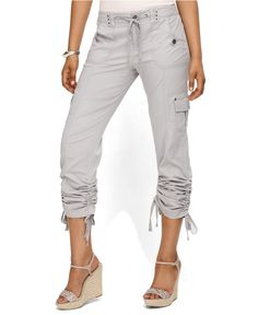 Nice other than white. INC International Concepts Pants, Curvy-Fit Drawstring Ruched Cargo - Shorts - Women - Macy's Cargo Shorts Women, Cargo Pants Outfit, Summer Pants Outfits, Capri Outfits, Trouser Outfits, Spring Fashion Outfits, Kurta Neck Design, Crop Top Hoodie, Stitch Fix Outfits