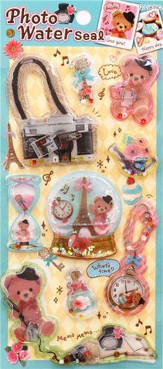 kawaii Paris teddy bear animal water capsule stickers - Animal Stickers - Sticker - Stationery - kawaii shop modeS4u