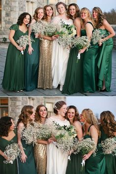 bridesmaid dresses   different styles mint dark green sage silver sage#weddings   #bridesmaidsbridesmaids wedding mismatched | mismatched bridesmaid dresses