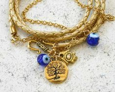 Evil Eye Protection Leather And Chain by SunnyBeachJewelry on Etsy, $31.99