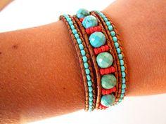 Faceted Arizona turquoise and czech glass beaded leather wrap bracelet. Southwester 3 wrap leather bracelet.. $57.00, via Etsy.