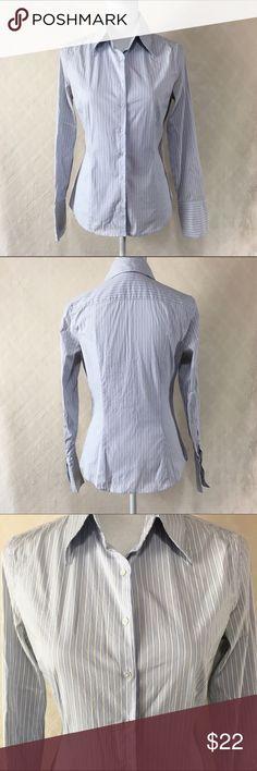 Express Design Studio button down Express Design Studio button down. Light blue and white vertical stripes. Size 8 classic fit. 97% cotton 3% spandex. Express Tops Button Down Shirts