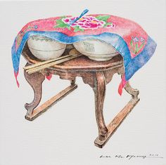 (Korea) A vanishing mom's dinner tabel by Lee Me Kyeoung ). with a pen use the acrylic ink on paper. Illustration Artists, Pencil Illustration, Illustrations, Korean Art, Asian Art, Drawing Practice, Figure Drawing, Lee And Me, Tea Culture