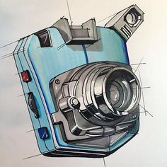 A made up camera sketch to combine forms and draw concentric ellipses. #idsketching #industrialdesign #designsketching