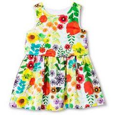 Toddler Girls' Floral Sateen Dress Cream - Cherokee®