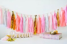 pink and coral dreams Tissue Paper Tassel Garland  by TouchOMagic