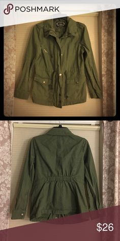 Green army jacket Stylish army style green zip and button up jacket. Love these! I have three of the same jacket 💁🏽 Ambiance Apparel Jackets & Coats