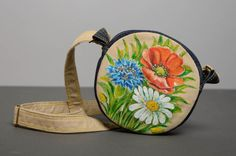 Round denim bag with acrylic painting