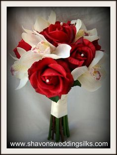 white orchid with red rose | Ivory Red Silver White Bouquet Fall Spring Summer Winter Wedding ...
