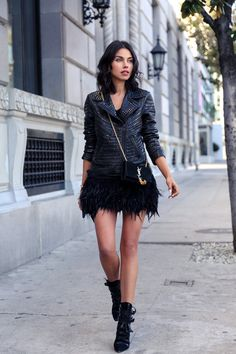#newyearseve look - Studded leather jacket & Feather trim dress #ootd