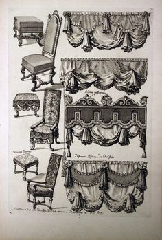 """Tombstone:  Print, """"Upholstered Furniture"""", ca. 1700.  ca. 1700. Etching and black ink on white laid paper.Smithsonian, Cooper-Hewitt, National Design Museum  (the drapery swags could be glued over blah curtains)"""