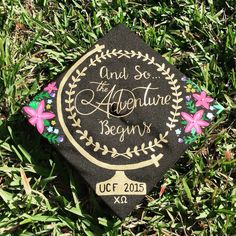Graduation cap globe world floral quote