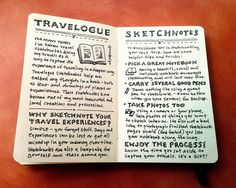 travelogues and sketchnoting. by mike rohde. these pages explain his concept when he started doing this. I want to get as good as him. http://rohdesign.com/