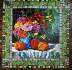 Miss Minnie's Zinnias 24 x 25 inches Stained glass mosaic Miss Minnie was was my grandmother. She was a farmer's wife and that meant she worked very hard. It's hard to believe she had the time, for  gardening. Every year, Gramps would plow a quarter of an acre just outside the kitchen window - and there Grandmom would plant the most breath-taking field of zinnias imaginable. Miss Minnie, thanks for instilling in me a love for flowers, especially those wild, bright zinnias!