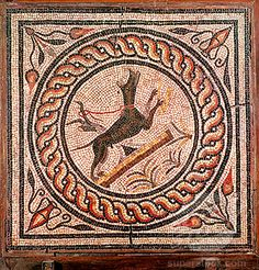 Cave Canem (Beware of the Dog) Mosaic, Pompeii, Italy (c.2-3 A.D.) a popular motif for the thresholds of Roman villas.