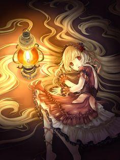 ✮ ANIME ART ✮ gothic lolita. . .lace. . corset. . .ribbons. . .headdress. . .long hair. . .lantern. . .cute. . .kawaii