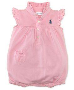 Ralph Lauren Baby Romper, Baby Girls Mesh Polo Bubble Shortall - Kids Baby Girl (0-24 months) - Macy's