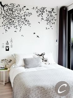 Tree and birds wall sticker White tree wall sticker for nursery Wall sticker for kids room Custom color Branches wall sticker Bedroom Wall Designs, Wall Decals For Bedroom, Nursery Wall Stickers, Bedroom Decor, Decals For Walls, Bathroom Decals, Bedroom Girls, Wall Painting Decor, Wall Decor