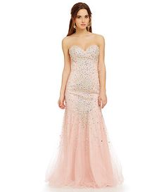 Glamour by Terani Couture Beaded Mesh Trumpet Gown