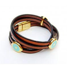 Brown Double-Wrap Eyes Toolittle Bracelet #leather bracelet Eyes, Brown, Bracelets, Leather, Jewelry, Jewlery, Bijoux, Jewerly, Bracelet