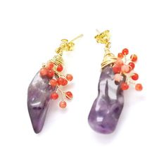 Red Berry on the Gemstone Earrings FREE SHIPPING by MariYunJewelry