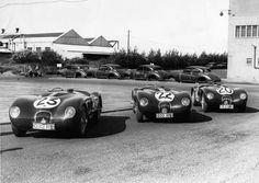 """1951 Swallow Road : Le Mans Jaguar C-Type Team  - Peter Whitehead and Peter Walker Jaguar XK120C #20 3.4L/L6 (#XKC003/153RW) Winner. - Stirling Moss and Jack Fairman's Jaguar C-type #22 3.4L/L6 (#XKC002/210RW) Retired. - Clemente Biondetti and Leslie Johnson's Jaguar XK-120C """"Biondetti Special"""" 3.4L/L6 (#XKC001/032RW) Retired.  (ph: forums-auto.com) Sports Car Racing, Race Cars, Auto Racing, Le Mans, Vintage Cars, Antique Cars, Vintage Auto, Jaguar Type, Jaguar Cars"""