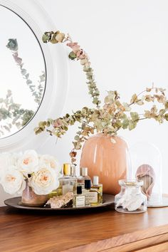 Tranquil Design Whitewashed Walls With Plants Home Tour a pretty pink dresser display with perfume tray Perfume Display, Perfume Tray, Small Room Bedroom, Bedroom Decor, Bedroom Ideas, Master Bedroom, Bandeja Perfume, Pink Dresser, Dresser Top Decor