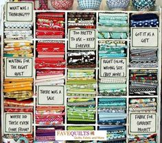 Sewing Fabric Storage What's REALLY in your fabric stash? Loving this funny image we found via Do you think your fabric stash is slightly organized like this? Quilting Quotes, Quilting Tips, Quilting Fabric, Quilting Room, Machine Quilting, My Sewing Room, Sewing Rooms, Sewing Class, Sewing Hacks