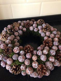 Zelf gemaakte winterkrans #winter #krans #wreath