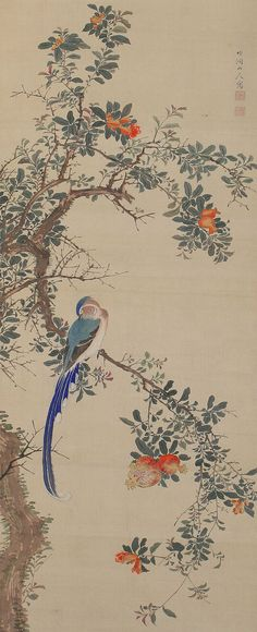 Antique Japanese Fine Art Wall Hanging Painting Bird and Flower Hanging Scroll Kakejiku