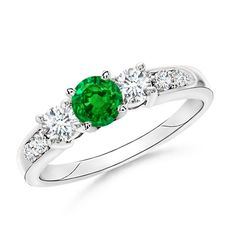 Three Stone Emerald and Diamond Ring from Angara.com