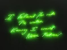 'I followed you into the water knowing I would never return' Neon by artist Tracey Emin