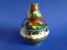 A large and impressive Intarsio two handled gourd shape vase decorated with a frieze of geese in a landscape the neck and shoulders with panels of Shape Patterns, Gourds, Art Nouveau, Vase, Shapes, Prints, Color, Design, Pumpkins
