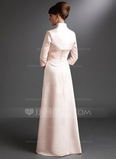 A-Line/Princess Sweetheart Floor-Length Ruffle Beading Zipper Up Strapless Sleeveless Yes Pearl Pink Spring Fall Winter General Plus Satin Mother of the Bride Dress