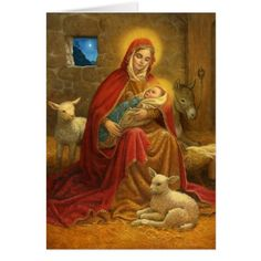 Vintage Madonna and Child Christmas card. Beautiful religious scene with Mary, Infant Jesus, sheep and donkey! Religious Christmas Cards, Vintage Christmas Cards, Catholic Art, Religious Art, Blessed Mother Mary, Mary And Jesus, Holy Mary, Theme Noel, Madonna And Child