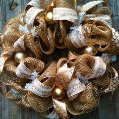 This stunning golden wreath is perfect for the upcoming holidays! Beautiful cream and gold music note ribbon gently rest on top of golden burlap mesh folds. Adorned with golden patterned ribbon, various golden scroll ornaments add a touch of class. This wreath would be a nice accent piece for any winter holiday. #buynow $65 #inselly