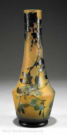 E.GALLÉ___early 20th __Cameo Art Glass Vase, early 20th c., cased amber and green glass with acid-etched and wheel-carved design of chinaberries