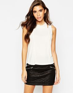 ASOS Top With Cold Shoulder In Crepe