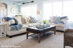 Lake House Living Room - new paint color Brittany Blue by Benjamin Moore