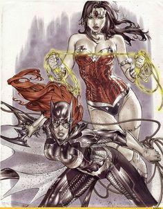 Original Comic Art titled Wonder Woman & Batgirl by Eric Basaldua, located in BASILIOS's Original Art Comic Art Gallery Comic Book Heroines, Comic Movies, Comic Book Artists, Comic Books Art, Comic Art, Batgirl, Batwoman, Heroes Dc Comics, Dc Comics Art