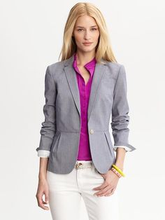 Banana Republic | Blue stretch cotton one-button blazer l $158