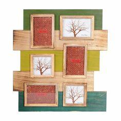 Bilderrahmen Mischholz für 6 Bilder grün