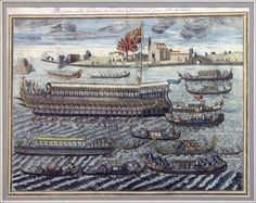 ITALIAN COPPER PLATE ENGRAVING OF THE VENETIAN STATE BARGE AND BOATS.