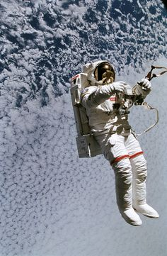 September, 1994. Mark C. Lee on a spacewalk to test the new Simplified Aid for EVA Rescue (safer) system. NASA