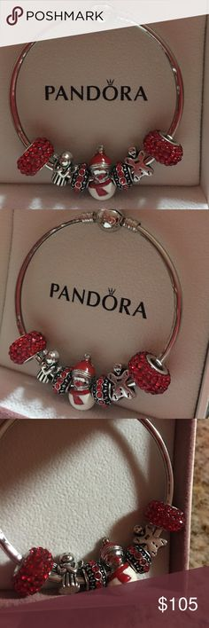Pandora bangle bracelet with Christmas beads Pandora bangle bracelet with Christmas beads. Beads are a mixture of Pandora, European, Tibetan silver, and murano glass beads. This bracelet is high quality and will be enjoyed by whomever wears it! This is a small dainty bracelet for a smaller wrist it perhaps even a young girl. It is very festive with an angel, snowman, and gingerbread beads. Pandora Jewelry Bracelets