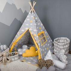 Tipi tent, sunny colours for the kids room teepee with window, floor mat and cloud pillows. #wigwam #cave #playzone #fabricTeepee #KidsTent #KidsTeepeeTent