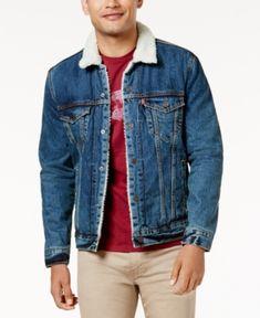 Levi's Sherpa Denim Trucker Jacket - Blue S Dark Denim Jacket, Levis Jacket, Jacket Men, Mens Sherpa, Outfits Hombre, Denim Outfit, Jackets, Men's Fashion, Coats