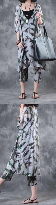 original V neck green print linen tops plus size mid dress