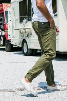 8661fc417ae8ba Olive jogger Pant paired with sneakers
